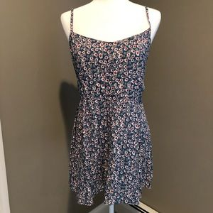 Blue with red and white flowers dress!!